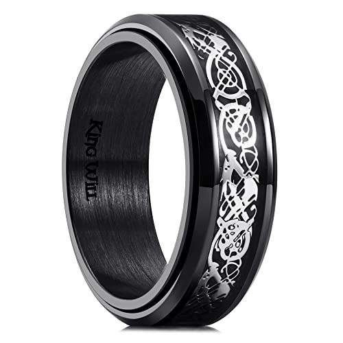 King Will Spinner 8mm Stainless Steel Ring Anxiety Relief Sliver Celtic Dragon Black Carbon Fibre Inlay Fidget Wedding Ring 10.5