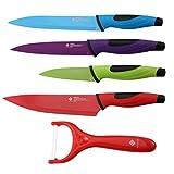 Renberg Set de de 5 Cuchillos, Acero Inoxidable, Multicolor