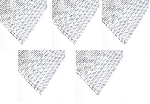 Polycarbonat Stegplatte Dick: 4mm Farbe: KLAR, Größe: 610 mm x 1220 mm - 5 Stuck !!! -> Wunschmaße auf Anfrag. Dachplatte für Gewächshaus | Treibhaus