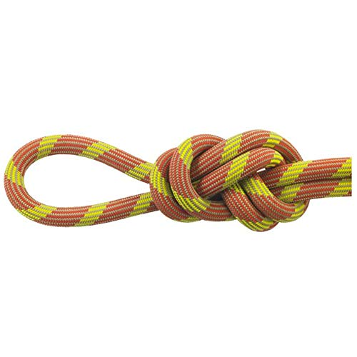Maxim Glider 9.9 mm UIAA Water-Repellent TPT Dynamic Climbing Rope, Desert Sun/STD-Dry - Bipattern, 60 m / 200 ft (New England Ropes Glider)