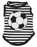 Petitebelle Camiseta para perro de fútbol, diseño de rayas, color negro y blanco (talla XS).