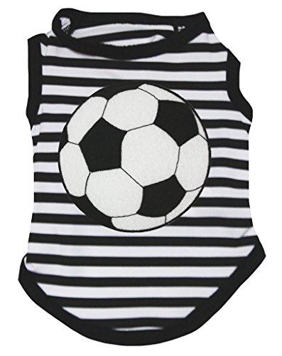 Petitebella Soccer Black White Striped Puppy Dog Shirt (Medium)