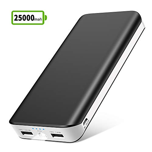 Bateria Externa Movil 25000mAh Power Bank Cargador Portátil Móvil de Alta Capacidad con 2 Salidas USB 2.1A/1A,Entrada 2A y LED Linterna,4 Indicadores LED para iPhone Huawei,Tablets y Más Dispositivos