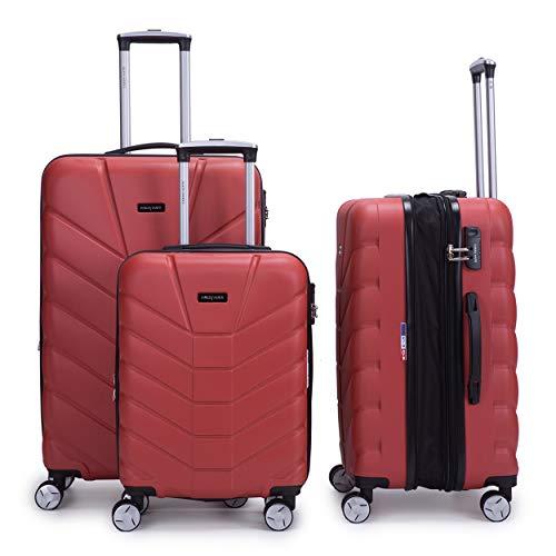 LYS - Set de 3 Valises Rigide ABS 4 Roues Doublées 55-66-76cm… (Beige)