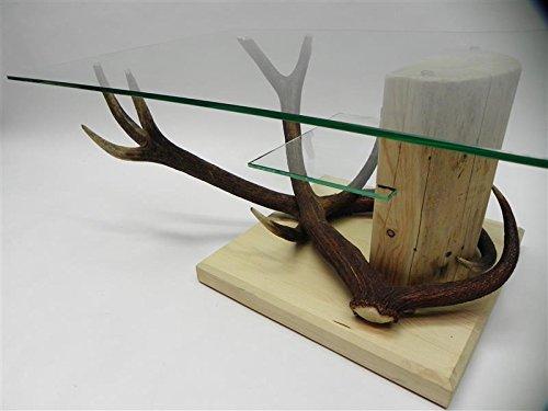 GTK - Gewei & Trofee kroomhout unieke rode hert gewei tafel met glasplaat - rechthoekig 100x70cm