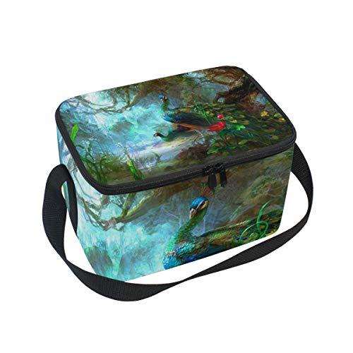 Lunchtasche mit Pfauenmotiv, Kühltasche für Picknick, Schultergurt, Lunchbox