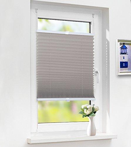 Laneetal Premium Plissee Klemmfix Faltrollo ohne Bohren, Jalousie mit Spannschue Grau 60x130cm(BXH), Easyfix und verspannt Faltrollo für Fenster und Tür, Sonnenschutz und Sichtschutz