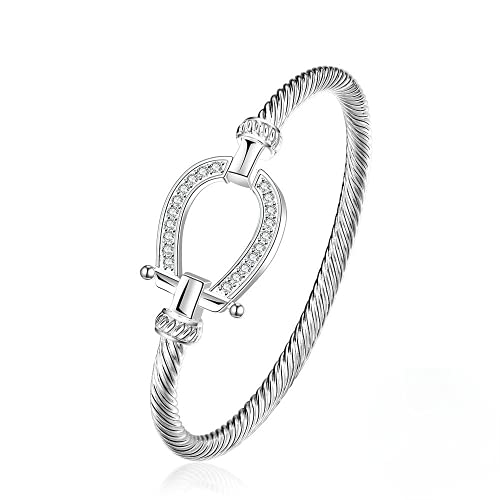 Elnker 925 sterling silver Filled Horse Shoe Bangle horseshoe water drop Women Day Gift
