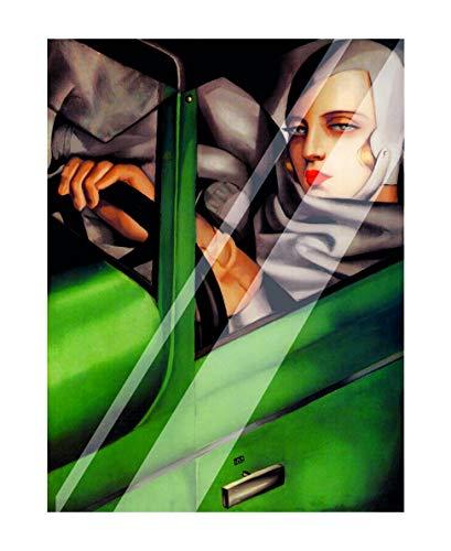 Vestin – schilderijen van plexiglas – Tamara de Lempicka, zelfportret op de groene bugatti – decoratie voor thuis A3 Targhetta + Stand
