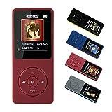 MP3-Player, 8 GB MP3-Musik-Player-Unterstützung 128G TF-Karte,70 Stunden Wiedergabe Lange Akkulaufzeit, HiFi-Klangqualität mit Multifunktion,FM-Radio,Diktiergerät,kommen sie mit kopfhörer,Rot