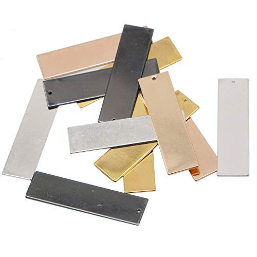 JETEHO 12pcs 4 Colors 42.7x11.3mm Stamping Blank Bar Horizontal Pendant Name Plate Jewelry Supply Craft Supplies(Gold/Rose Gold/Silver/Gun Black)