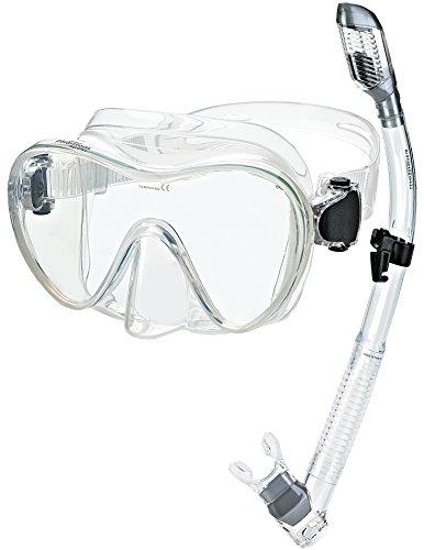 Phantom Aquatics, Set Maschera e boccaglio per Immersioni e Snorkeling, Clear