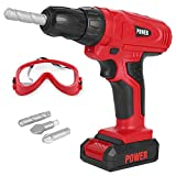 Toy Tool Drill, Kids Power Construction Tool Drill with Goggle, Toddlers Toy Shop Tools for Boys and Girls