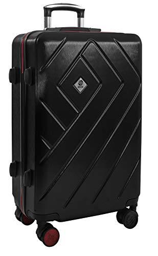 Lichtgewicht Hardside-bagage 68 cm - Medium 24 inch Lichtgewicht TSA-goedgekeurd slot met harde schaal en 4 stille 360 ° -wielen - Travel Hold Checked Check-in koffer 3,5 kg diepzwart 24 inch