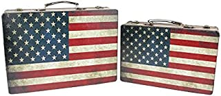 Northlight Set of 2 Rustic American Flag Rectangular Wooden Decorative Storage Boxes 14.5-17