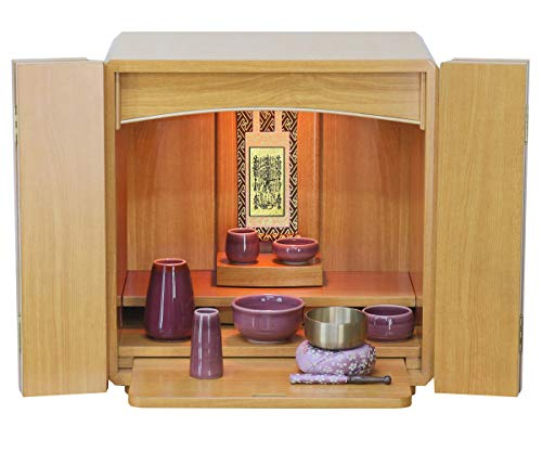 ミニ仏壇 スピカ 仏具セット付き 仏具:パープル 宗派:日蓮宗 モダン仏壇 ナチュラル調