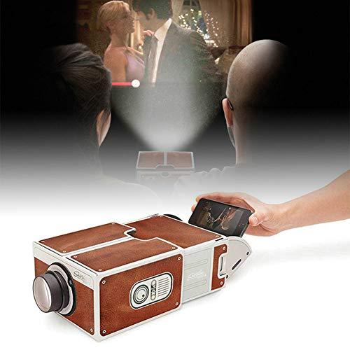 Shentesel Smart Phone Projector Mini DIY Cardboard Home Cinema Theater Vintage Portable - Coffee