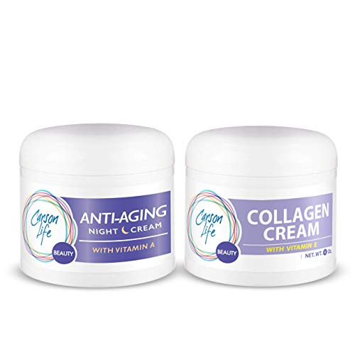 CARSON LIFE Day & Night Kit (Collagen Beauty Cream With Vitamin E, Anti Aging Night Cream) 4 Oz - Marvelously Rejuvenate Skin & Prevent Wrinkles - Keep Your Skin and Face Healthy - Made in the USA