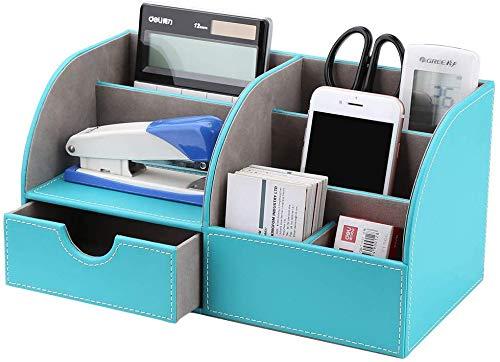 GORESE - Organizador de escritorio de piel sintética (diseño de mármol), color Azul menta.
