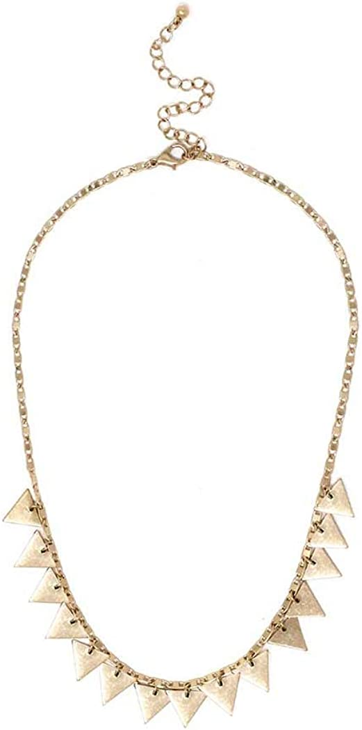 Fashion Jewelry ~ Multi Triangle Spike Charm Goldtone Necklace for Women Teens Girlfriends Birthday Gifts