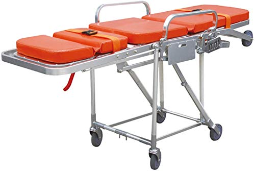 GLJY Medical Rescue Notfallbahre, Aluminium Klappbahre Krankenwagen Feuerwehrmann Evakuierung Treppenstuhl Kann 160 kg Keilwagen Silber tragen