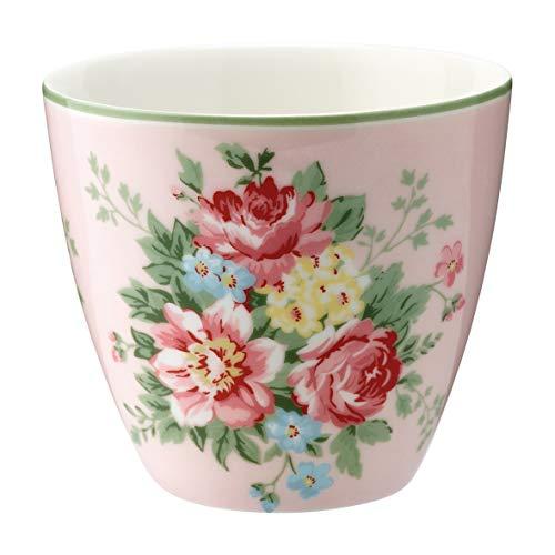 GreenGate - Kaffeetasse, Kaffeebecher, Latte Cup - Aurelia - Steingut - Pale pink - D: 10 cm
