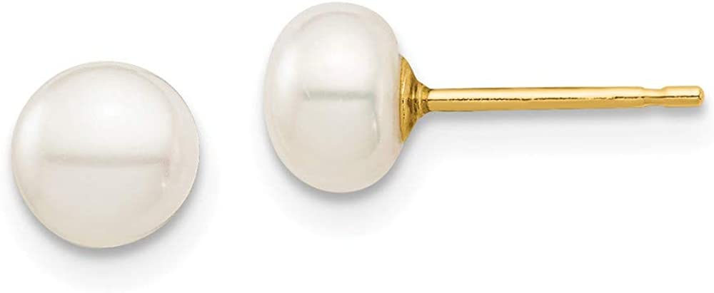 14k Yellow Gold 6mm White Button Freshwater Cultured Pearl Stud Post Earrings Ball Fine Jewelry For Women Gifts For Her