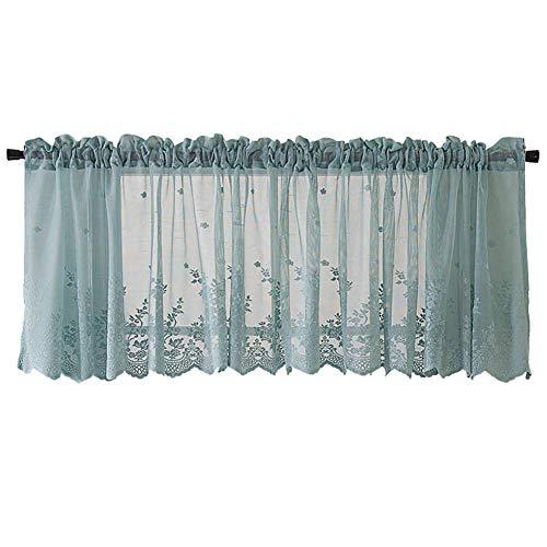 Goodtimes28 Fenstervorhang und Duschvorhang aus Netzstoff mit Blumenmuster, für Fenster, Balkon, Kurzgardine, Küchen-Volant, blau, 130 * 41cm