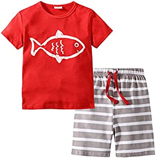 Image of Red Fish Shorty Pajamas for Toddler Boys - See More