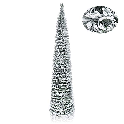 pop up tree, tinsel tree, snow flocked tree, artificial christmas tree, collapsible christmas tree, skinny tree