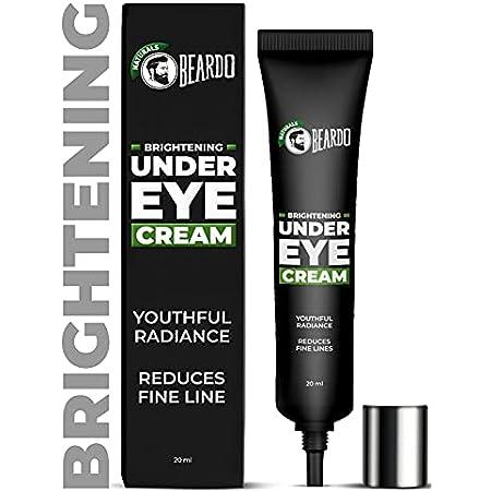 Beardo Naturals Brightening Under Eye Cream for Men   Reduce wrinkles fine lines and dark circles   Restores youthful glow   98% Natural   20ml