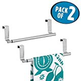 mDesign Pack of 2 Decorative Kitchen Over Cabinet Expandable Towel Bars – Hang on Inside or Outside of...