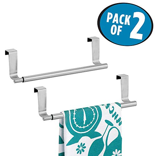 mDesign Juego de 2 Barras telescópicas para Toallas de baño – Toallero Extensible de Acero para Colgar de la Puerta de los Muebles – Toalleros de Cocina para Dos paños – Plateado