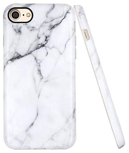 A-Focus Compatible with iPhone 7 Case, iPhone SE 2020 Case for Men, iPhone 8 Marble Case, White Marble Stone Anti Scratch Slim Fit Flexible TPU Cover Case for iPhone SE / 8/7 4.7' Matte Gray 2