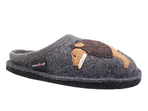 HAFLINGER 313070-3 AR Lion Schuhe Damen Hausschuhe Pantoffeln Wolle, Größe:42 EU, Farbe:Grau