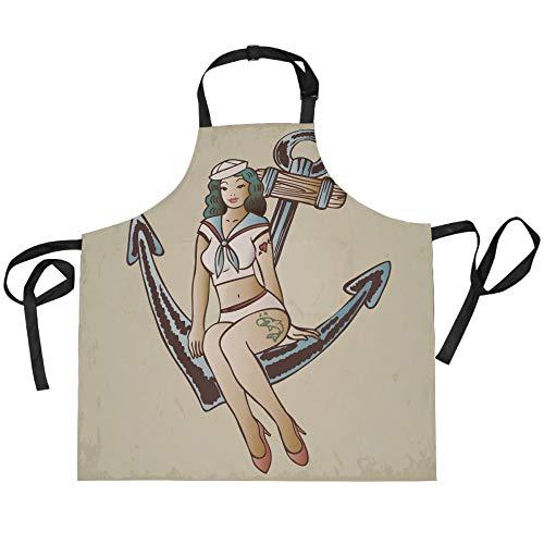 ADMustwin Delantales para mujeres y hombres Retro Ocean Sea Anchor Sailor Print Delantal de cocina ajustable con 2 bolsillos para hornear 27.5 x 29 pulgadas