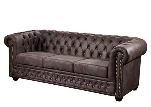 Divano Oxford stile antico vintage marrone scuro CHESTERFIELD