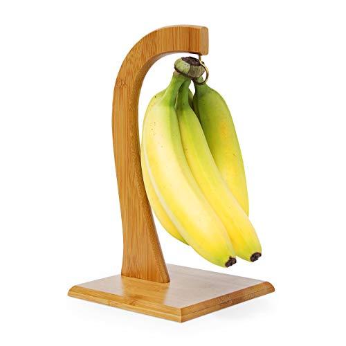 Relaxdays SHELDON stojak na owoce i warzywa, 28,5 x 16 x 16, dekoracyjny wieszak na banan, bambus, naturalny brąz