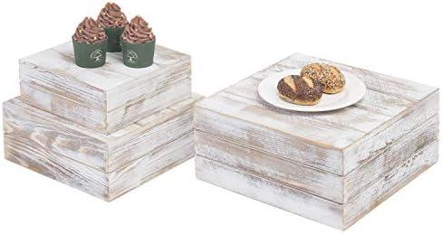 MyGift Shabby Whitewashed Wood Nesting Crate Display Risers Set of 3 product image