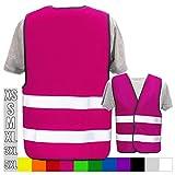 Hochwertige Warnweste mit Leuchtstreifen * Bedruckt mit Name Text Bild Logo Firma * personalisiertes Design selbst gestalten, Druckposition:OHNE Druck, Farbe Warnweste:Pink (S)