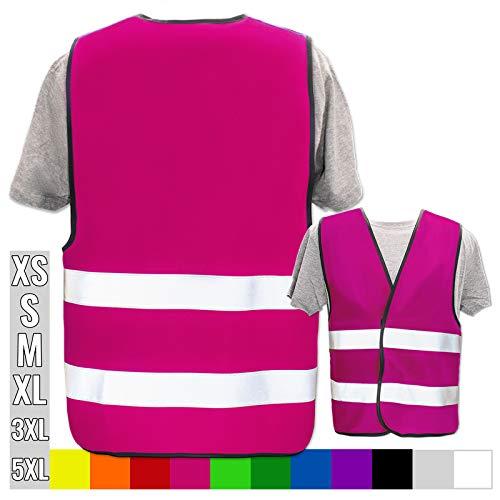 Warnweste Bedruckt mit Ihrem Name Text Bild Logo * echte Reflex-Leuchtstreifen * personalisiertes Design selbst gestalten, Farbe + Größe:Pink (S), Warnweste Druckposition:Ohne Druck