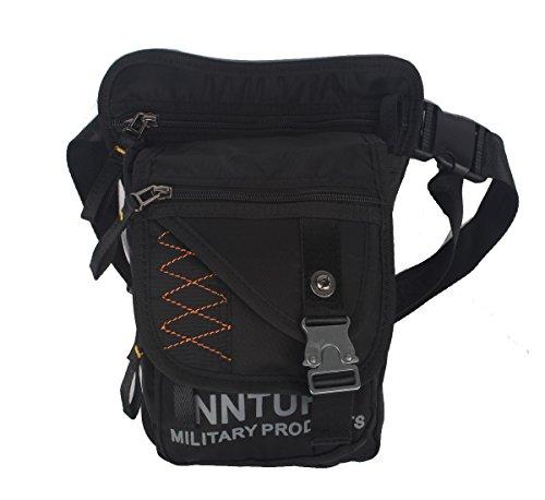 Kawei Knight Nylon Messenger Pouch Leg Bag Fanny Pack (Medium-Black)