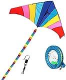 cometas para niños cometa infantil Cometa para niños, fácil de volar, cometa triangular grande con arcoíris, cometas coloridas, ideal para principiantes, juegos al aire libre, actividades (con cue
