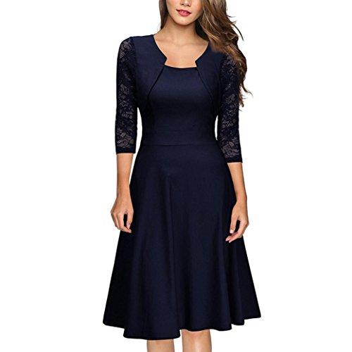 DOLDOA Cocktailkleid, Frauen Rundhals 3/4 arm Knielang Kleid Hochzeit Abend Kleid Ballkleider (EU:40, Marine,Rundhals 3/4 arm Knielang Kleid)
