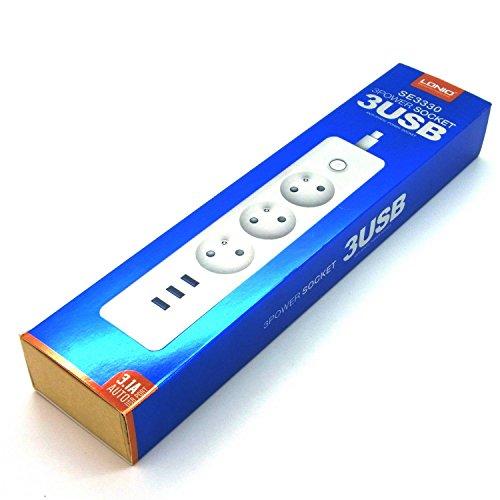 LDNIO 3-voudige stekkerdoos verdeler incl. 3x USB-poorten USB-oplaadfunctie tot 3,1A stekkerdoos