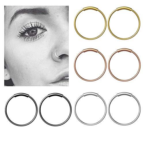 8 Stück Edelstahl Nasenpiercing Fake Septum Nasenring Piercing Scharnier Clicker Hoop Lippen - 8mm MEHRWEG
