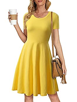 HUHOT Belle Costume for Women Cosplay Fit and Flare Modest Dress for Women Fall Casual Knee Length Midi Dress Yellow