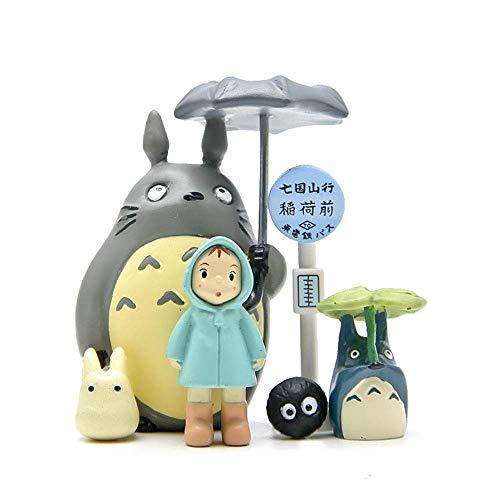 6 STÜCKE Totoro Studio Ghibli Figuren Spielzeug Kits Mein Nachbar Totoro Miniatur Home Fairy Garden Micro Totoro Bus Station Landschaft Ornament Dekorationen für Handwerk und Wohnkultur