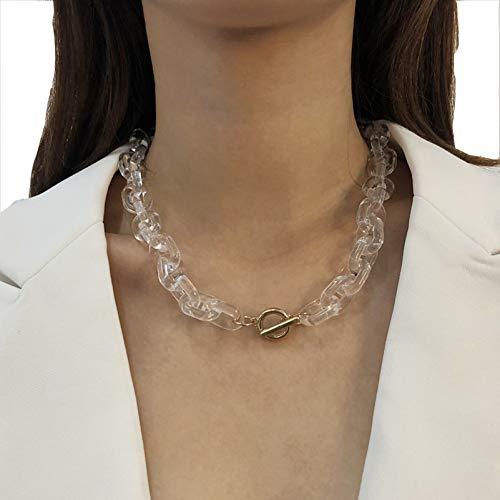 Collares para Mujer Resina Transparente Street Beat Cadena Gruesa Cadena De Clavícula Personalidad Collar Irregular Collar Simple,Blanco