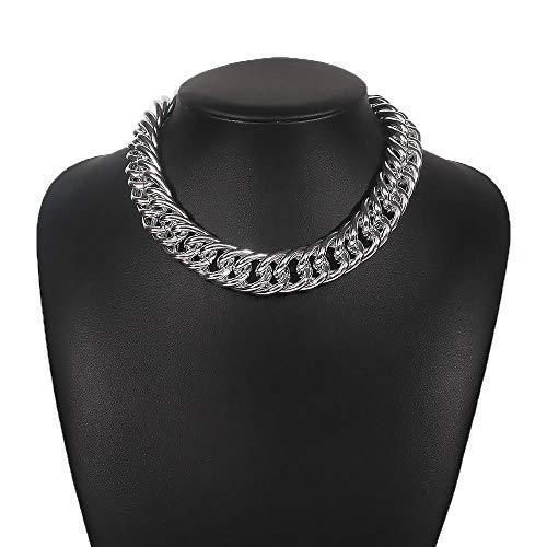 Collares Colgante Joyas Gargantilla Gruesa Masiva, Collar, Joyería para Mujeres, Estética, Decoraciones, Accesorios De Moda-Silver_Color
